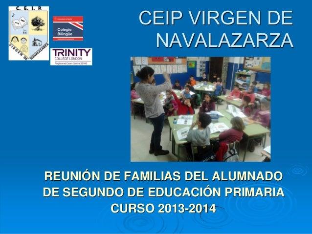 CEIP VIRGEN DE NAVALAZARZA  REUNIÓN DE FAMILIAS DEL ALUMNADO DE SEGUNDO DE EDUCACIÓN PRIMARIA CURSO 2013-2014