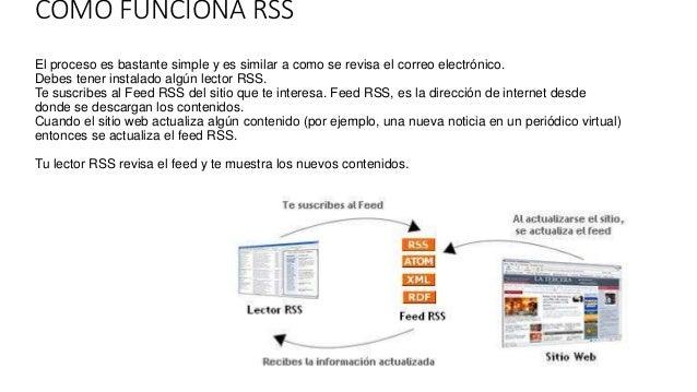 COMO FUNCIONA RSS El proceso es bastante simple y es similar a como se revisa el correo electrónico. Debes tener instalado...