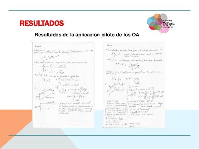 RESULTADOS Resultados de la aplicación piloto de los OA