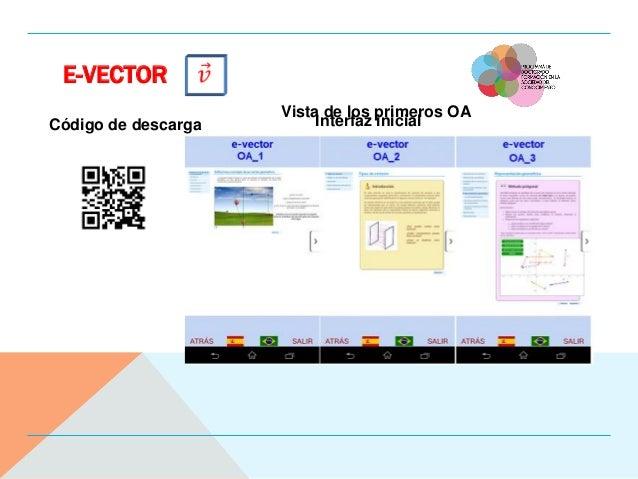 E-VECTOR Código de descarga Interfaz inicial Vista de los primeros OA