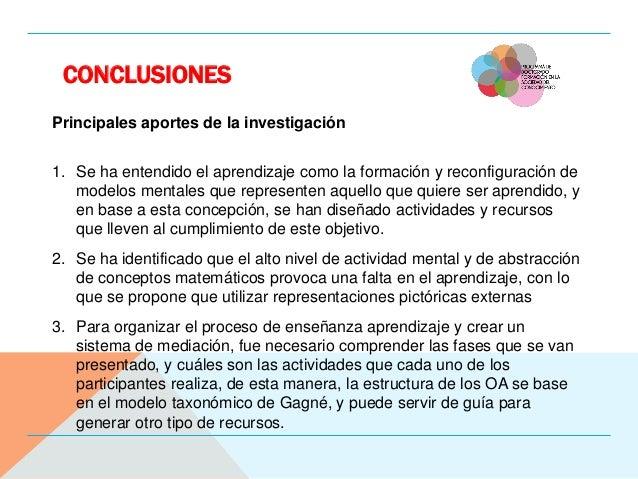 CONCLUSIONES Principales aportes de la investigación 1. Se ha entendido el aprendizaje como la formación y reconfiguración...