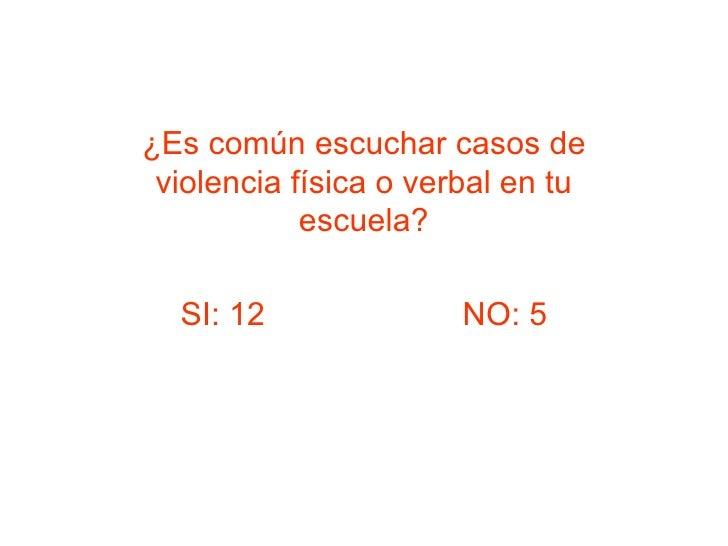 ¿Es común escuchar casos de violencia física o verbal en tu escuela? SI: 12  NO: 5