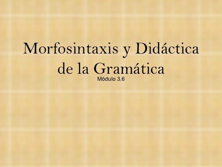 Morfosintaxis y Didáctica de la Gramática Módulo 3.6