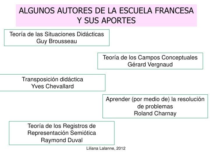 ALGUNOS AUTORES DE LA ESCUELA FRANCESA               Y SUS APORTESTeoría de las Situaciones Didácticas           Guy Brous...
