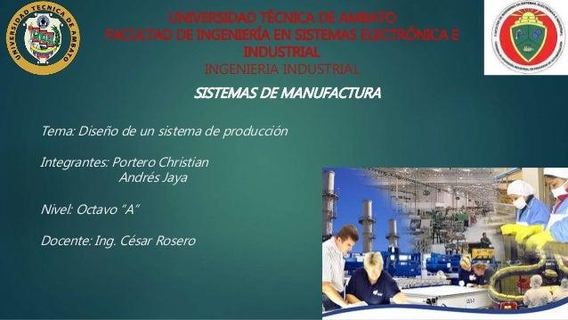 "Tema: Diseño de un sistema de producción Integrantes: Portero Christian Andrés Jaya Nivel: Octavo ""A"" Docente: Ing. César ..."
