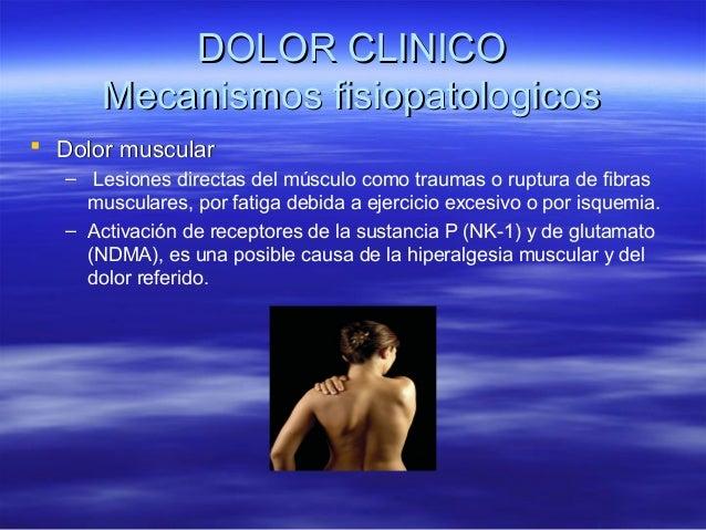 DOLOR CLINICO       Mecanismos fisiopatologicos Dolor muscular   – Lesiones directas del músculo como traumas o ruptura d...