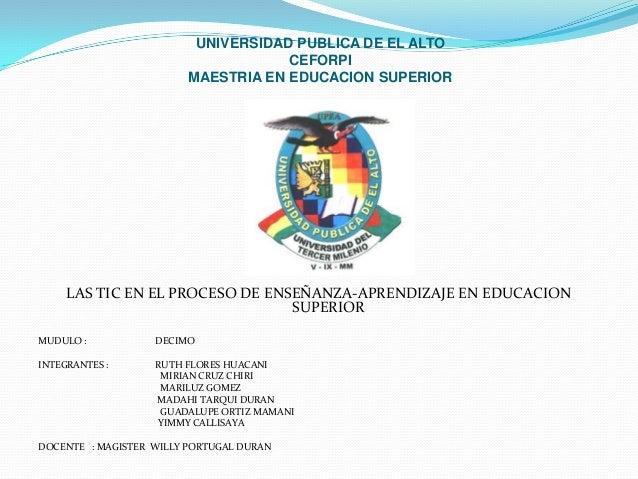UNIVERSIDAD PUBLICA DE EL ALTO                                     CEFORPI                         MAESTRIA EN EDUCACION S...
