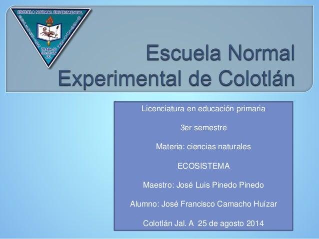 Licenciatura en educación primaria 3er semestre Materia: ciencias naturales ECOSISTEMA Maestro: José Luis Pinedo Pinedo Al...
