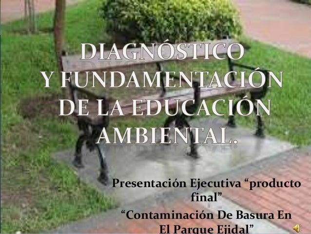"""Presentación Ejecutiva """"producto final"""" """"Contaminación De Basura En El Parque Ejidal"""""""