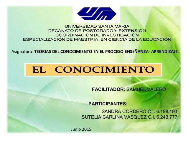 • FACILITADOR: SAMUEL VALERO PARTICIPANTES: SANDRA CORDERO C.I. 6.198.190 SUTELIA CARLINA VASQUEZ C.I. 6.243.777 FACILITAD...