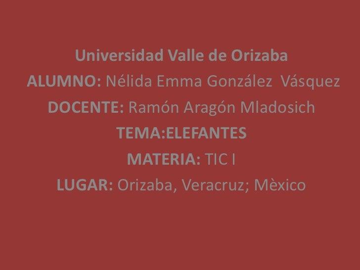 Universidad Valle de OrizabaALUMNO: Nélida Emma González Vásquez  DOCENTE: Ramón Aragón Mladosich          TEMA:ELEFANTES ...