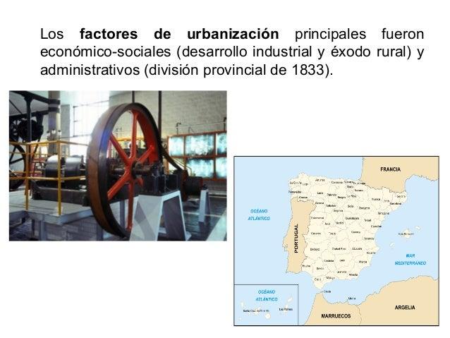 Entre 1850 y 1936 (inicio de la guerra civil) el crecimiento urbano se dobló por el desarrollo industrial, ferroviario,...
