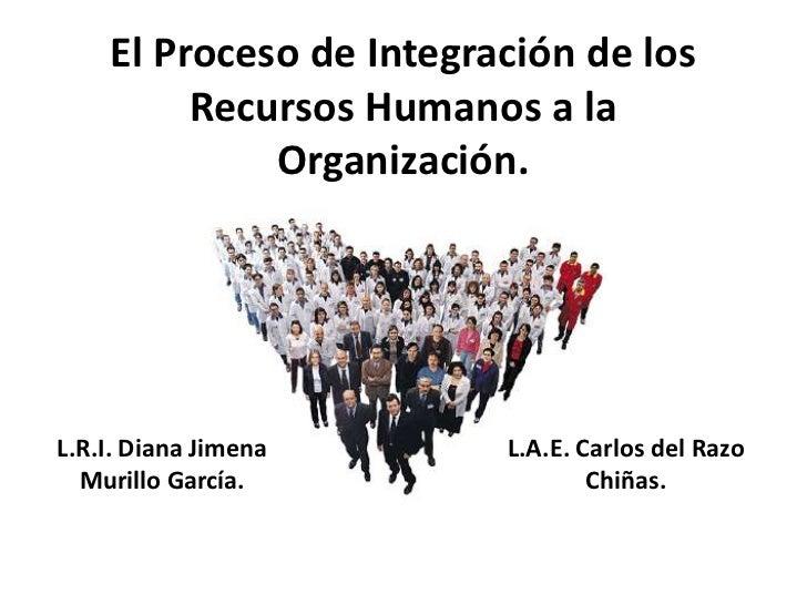 El Proceso de Integración de los         Recursos Humanos a la             Organización.L.R.I. Diana Jimena      L.A.E. Ca...