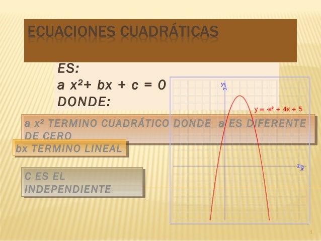 LA FORMA DE LA ECUACIÓN ES: a x 2 + bx + c = 0 DONDE: a x 22 TERMINO CUADRÁTICO DONDE a ES DIFERENTE a x TERMINO CUADRÁTIC...
