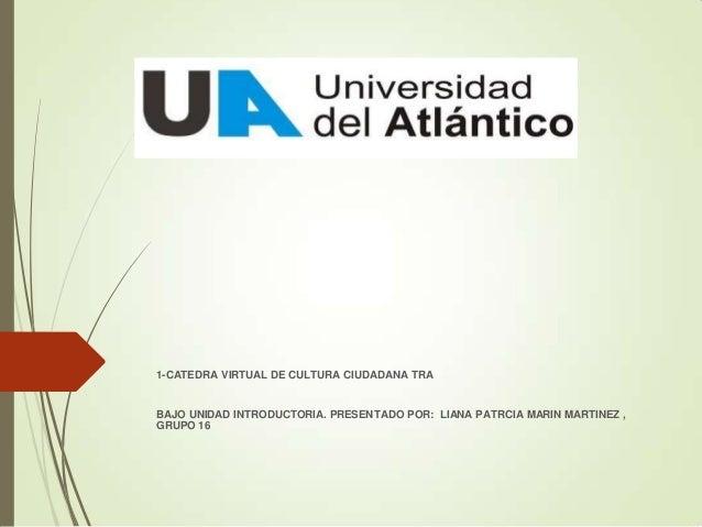 1-CATEDRA VIRTUAL DE CULTURA CIUDADANA TRA  BAJO UNIDAD INTRODUCTORIA. PRESENTADO POR: LIANA PATRCIA MARIN MARTINEZ , GRUP...
