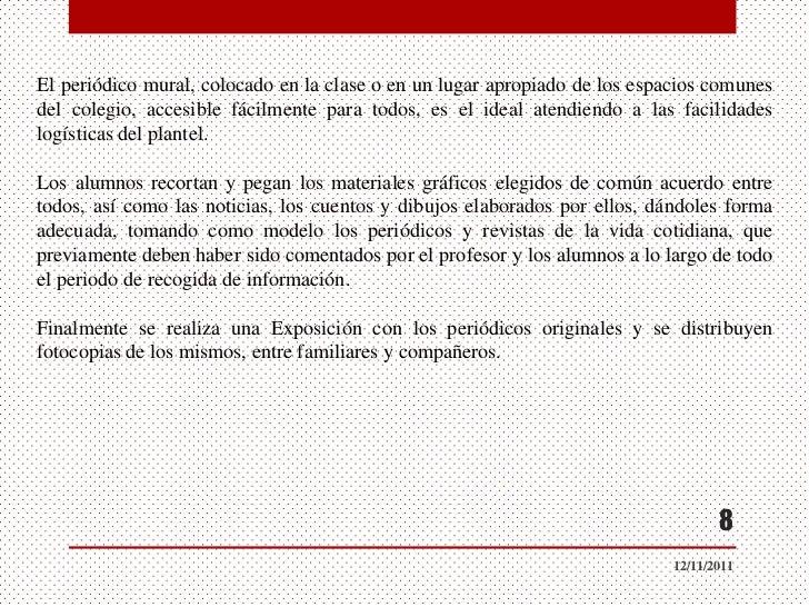 Presentaci nes periodico mural 12 11 2011 for Articulo de cultura para periodico mural