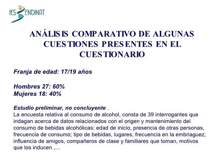 ANÁLISIS COMPARATIVO DE ALGUNAS CUESTIONES PRESENTES EN EL CUESTIONARIO Franja de edad: 17/19 años Hombres 27: 60% Mujeres...