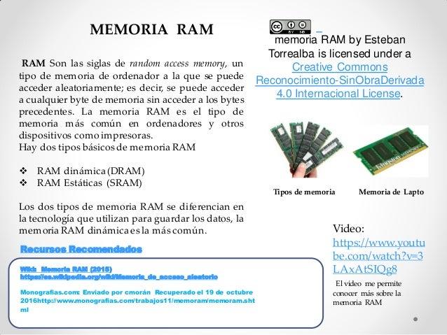 MEMORIA RAM RAM Son las siglas de random access memory, un tipo de memoria de ordenador a la que se puede acceder aleatori...