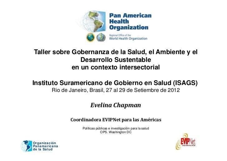 Taller sobre Gobernanza de la Salud, el Ambiente y el                Desarrollo Sustentable             en un contexto int...