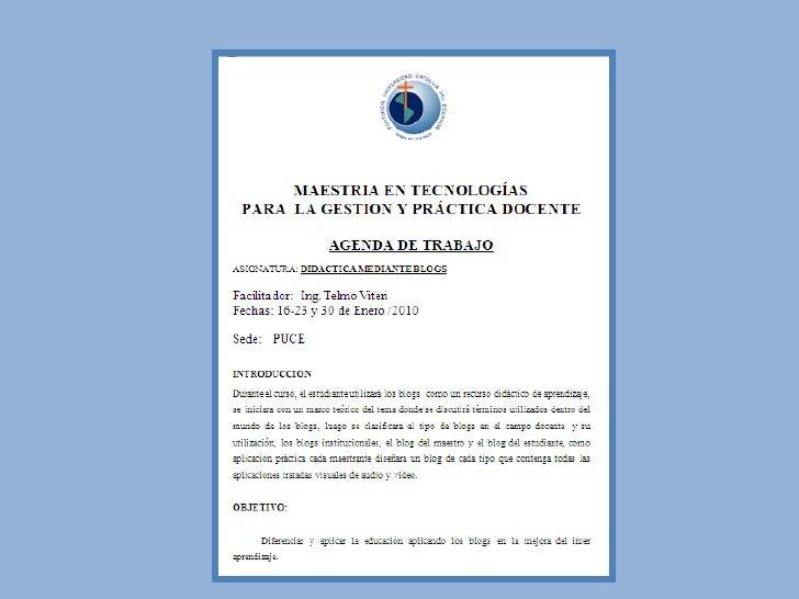 AGENDA DE TRABAJO MAESTRIA - DIDACTICA Y BLOGS