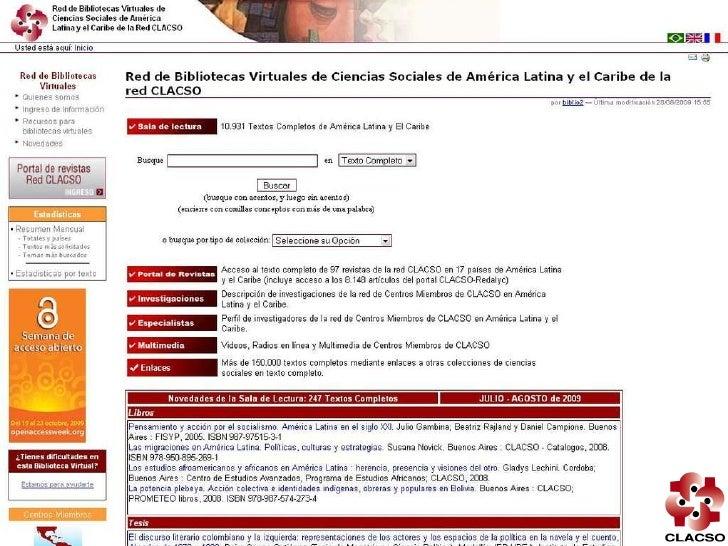 Red de Bibliotecas Virtuales CLACSO (repositorio institucional), dic.2009 Slide 3