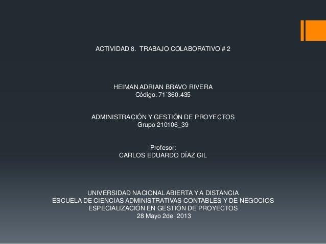ACTIVIDAD 8. TRABAJO COLABORATIVO # 2HEIMAN ADRIAN BRAVO RIVERACódigo. 71´360.435ADMINISTRACIÓN Y GESTIÓN DE PROYECTOSGrup...