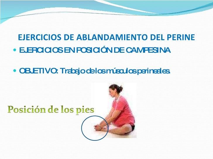 EJERCICIOS DE ABLANDAMIENTO DEL PERINE <ul><li>EJERCICIOS EN POSICIÓN DE CAMPESINA </li></ul><ul><li>OBJETIVO: Trabajo de ...