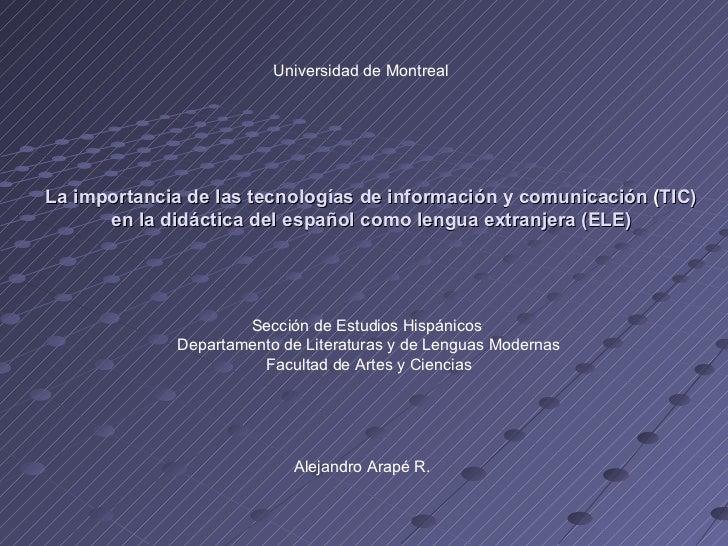 La importancia de las tecnologías de información y comunicación  ( TIC) en la didáctica del español como lengua extranjera...