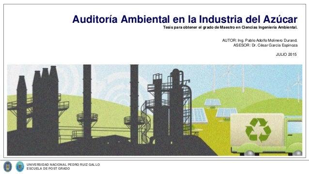 Tesis para obtener el grado de Maestro en Ciencias Ingeniería Ambiental. Auditoría Ambiental en la Industria del Azúcar UN...