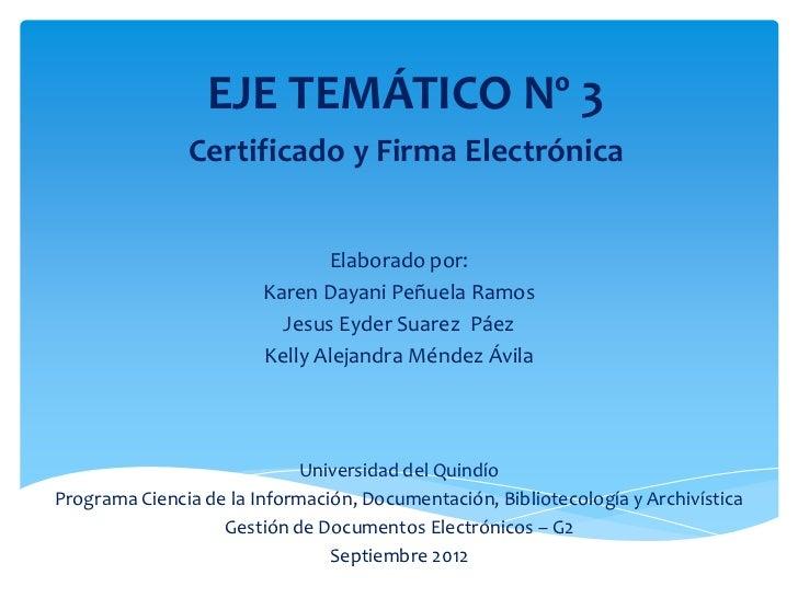 EJE TEMÁTICO Nº 3               Certificado y Firma Electrónica                               Elaborado por:              ...