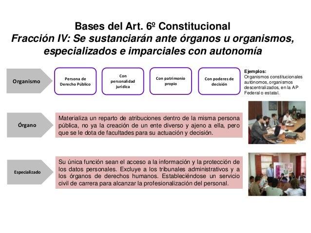 Bases del Art. 6º Constitucional Fracción IV: Se sustanciarán ante órganos u organismos, especializados e imparciales con ...
