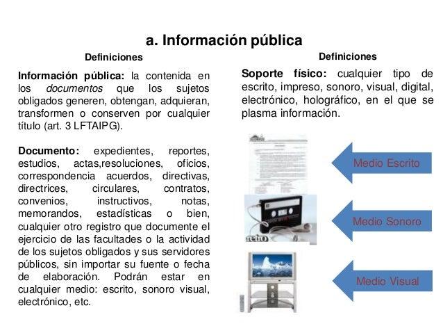 a. Información pública Definiciones Información pública: la contenida en los documentos que los sujetos obligados generen,...