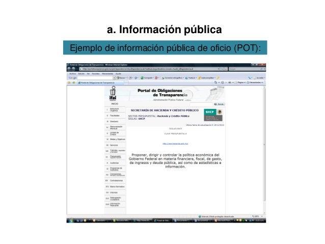 Ejemplo de información pública de oficio (POT): a. Información pública