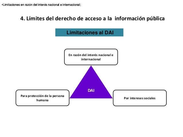 4. Límites del derecho de acceso a la información pública Limitaciones al DAI •Limitaciones en razón del interés nacional ...