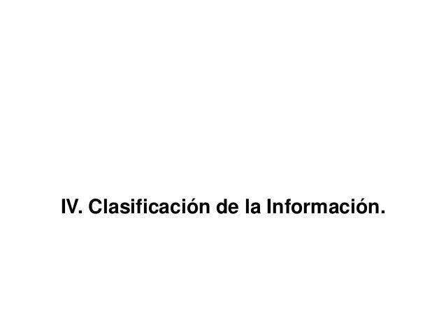 IV. Clasificación de la Información.
