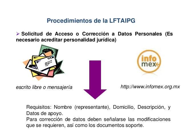 Requisitos: Nombre (representante), Domicilio, Descripción, y Datos de apoyo. Para corrección de datos deben señalarse las...