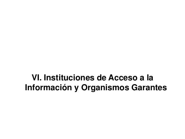 VI. Instituciones de Acceso a la Información y Organismos Garantes