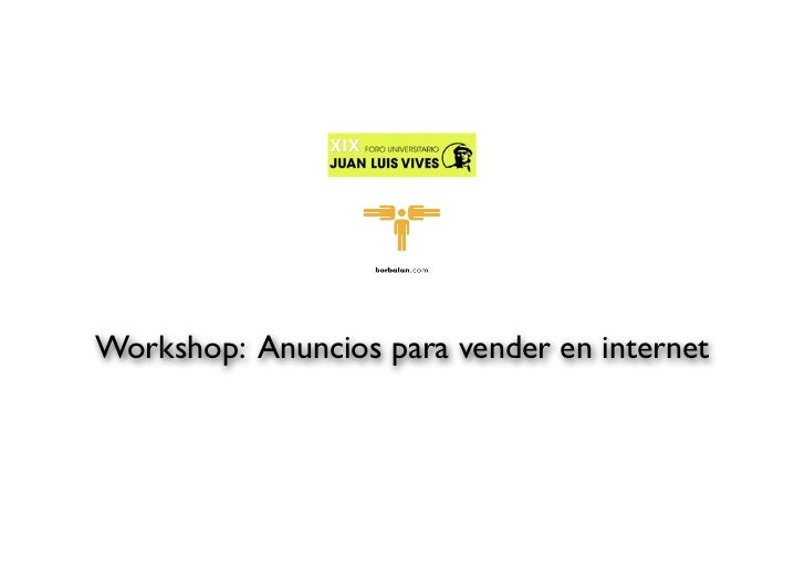 Workshop: Anuncios para vender en internet