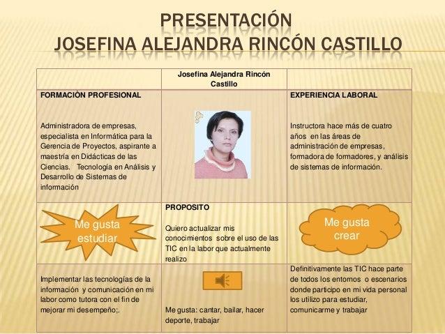PRESENTACIÓN JOSEFINA ALEJANDRA RINCÓN CASTILLO Josefina Alejandra Rincón Castillo FORMACIÒN PROFESIONAL  EXPERIENCIA LABO...