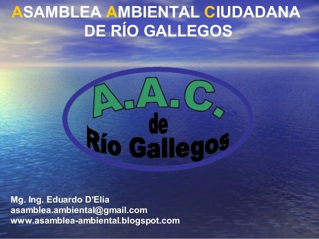 ASAMBLEA AMBIENTAL CIUDADANA DE RÍO GALLEGOS  Mg. Ing. Eduardo D'Elía asamblea.ambiental@gmail.com www.asamblea-ambiental....