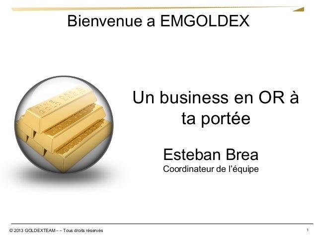 1© 2013 GOLDEXTEAM – – Tous droits réservés Bienvenue a EMGOLDEX Esteban Brea Coordinateur de l'équipe Un business en OR à...