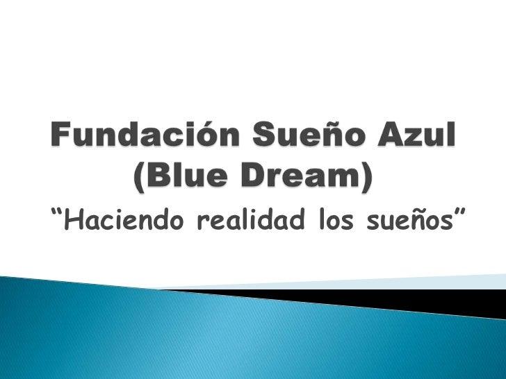 """Fundación Sueño Azul (Blue Dream)<br />""""Haciendo realidad los sueños""""<br />"""
