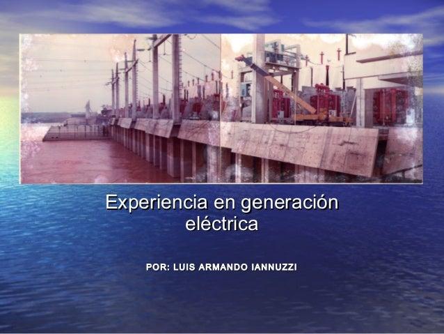Experiencia en generaciónExperiencia en generación eléctricaeléctrica POR: LUIS ARMANDO IANNUZZIPOR: LUIS ARMANDO IANNUZZI