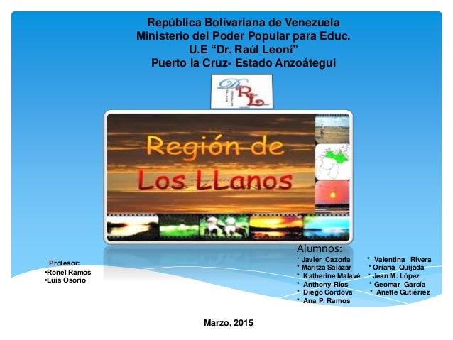 "República Bolivariana de Venezuela Ministerio del Poder Popular para Educ. U.E ""Dr. Raúl Leoni"" Puerto la Cruz- Estado Anz..."