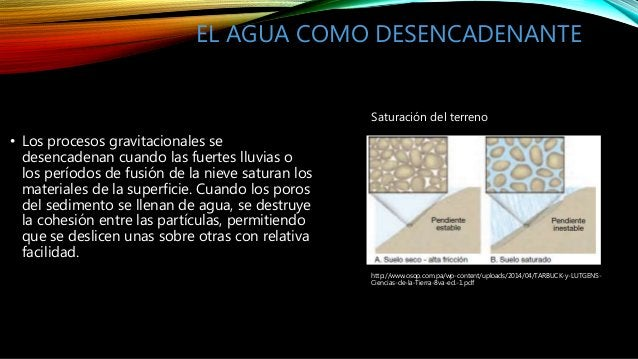 EL AGUA COMO DESENCADENANTE • Los procesos gravitacionales se desencadenan cuando las fuertes lluvias o los períodos de fu...