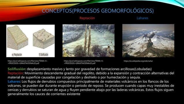 https://jsvsl.wikispaces.com/file/view/TEMA+4.- +PROCESOS+GRAVITACIONALES.pdf CONCEPTOS(PROCESOS GEOMORFOLÓGICOS) Soliflux...