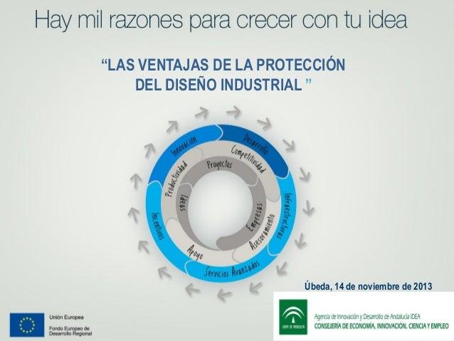 """""""LAS VENTAJAS DE LA PROTECCIÓN DEL DISEÑO INDUSTRIAL """"  ¡'0987654321  Úbeda, 14 de noviembre de 2013"""