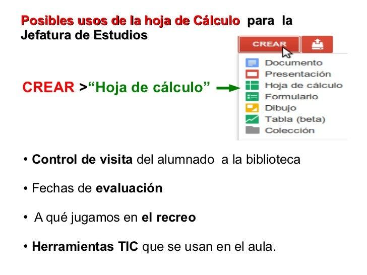 """Posibles usos de la hoja de Cálculo para laJefatura de EstudiosCREAR >""""Hoja de cálculo""""●   Control de visita del alumnado ..."""