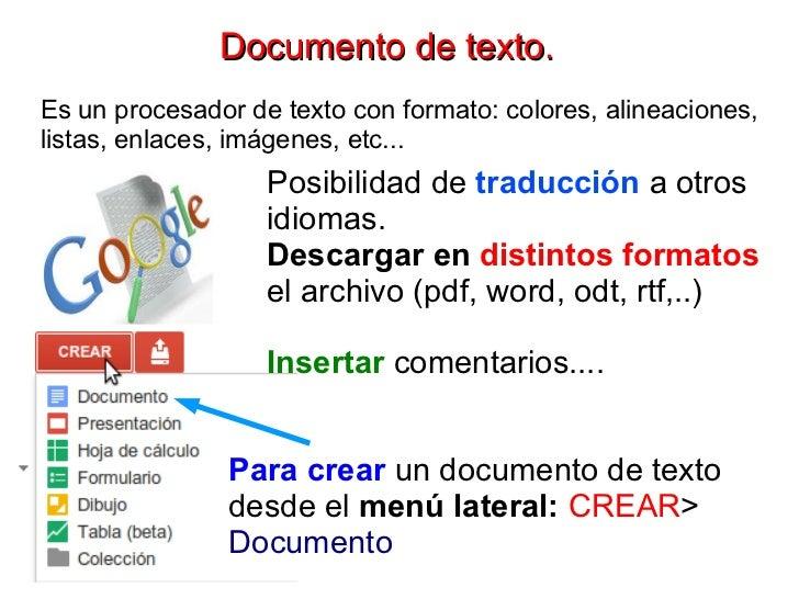 Documento de texto.Es un procesador de texto con formato: colores, alineaciones,listas, enlaces, imágenes, etc...         ...