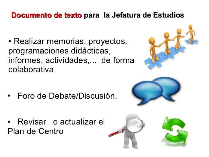 Documento de texto para la Jefatura de Estudios● Realizar memorias, proyectos,programaciones didácticas,informes, activida...